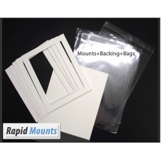 10 Pack Single Mounts, white core (with backing boards & bags)